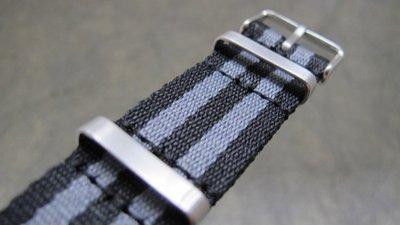20mm nato zulu Omega FU超值高質感黑灰條紋james bond尼龍錶帶消光不鏽鋼製錶圈