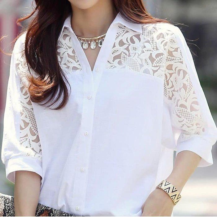 貓姐的團購中心~有中大尺碼~212Z 休閒蕾絲中長款白色襯衫~M-3XL一件420元~預購款