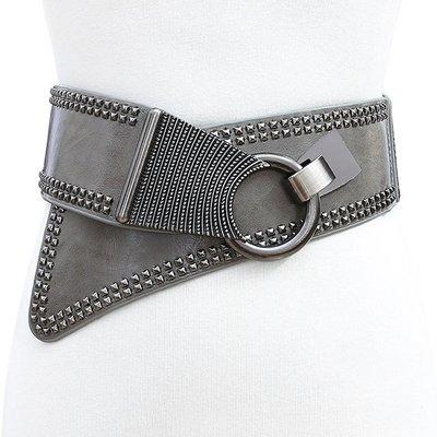 腰封皮帶 鉚釘 圓環 對釦 斜搭 彈性 鬆緊 腰封 個性 寬版 腰帶【SB730】