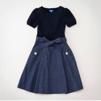 預購 日本限定 Blue Label crestbridge 棉混針織公主袖上衣 牛仔布料裙 附腰帶 洋裝