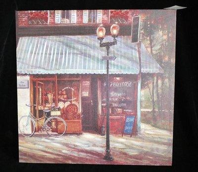 【布拉格歐風傢俱】鄉村風仿舊油畫筆觸木底框櫥窗 麵包店掛畫 居家店面掛飾 禮物
