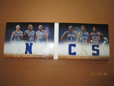 網拍讀賣~Carmelo Anthony/ Jason Kidd/ Patrick Ewing~書卡~限量六人六格球衣卡