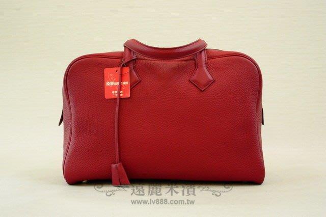 【遠麗】台北大安店~A6932 HERMES 54紅 togo銀釦voctoria肩背包   真品/正品  現貨