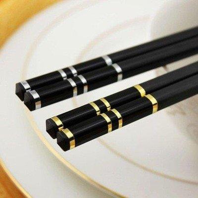 哆啦本鋪 筷子套裝黑色快子家用北歐式防滑10雙高檔酒店合金筷專用進口餐具 D655