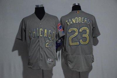 Cubs棒球服MLB小熊隊球衣23號SANDBERG灰白色金字16總冠軍版開衫 ycwk608