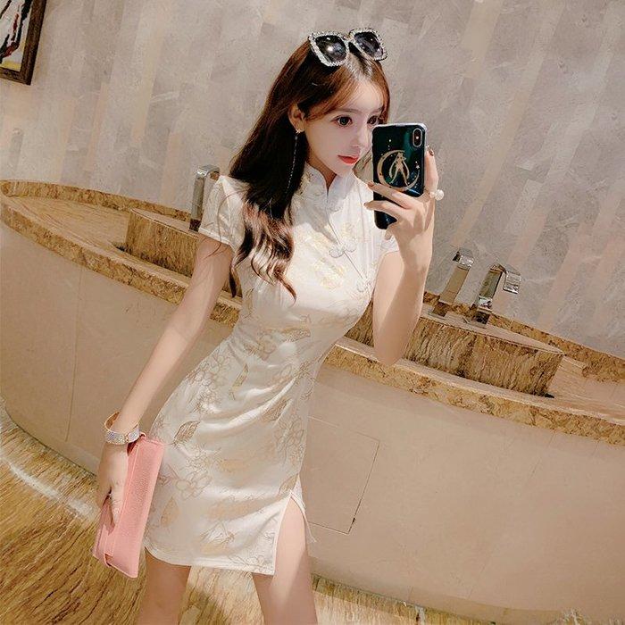 復古中式燙金中式少女日常改良旗袍性感包臀開叉修身顯瘦連身裙女