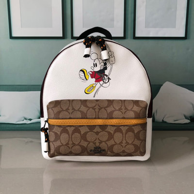 ㊣國際品牌COACH庫㊣美國代購COACH 3719【2件免運】奧運會限定合作迪士尼米老鼠雙肩包 女生後背包 附購買證明
