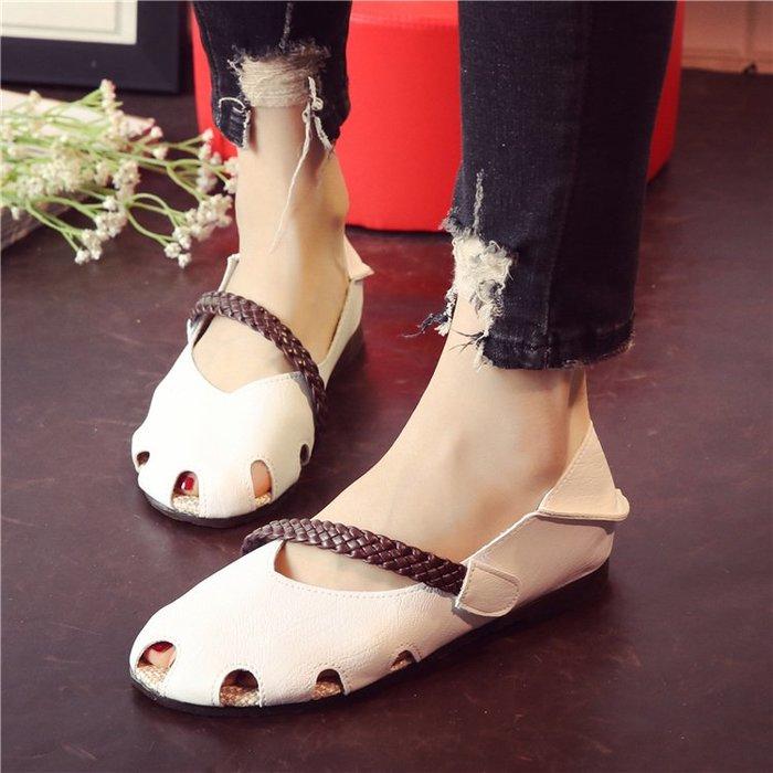 夏季學生涼鞋包頭超軟舒適軟面軟底女鞋懶人鞋兩穿鏤空洞洞鞋