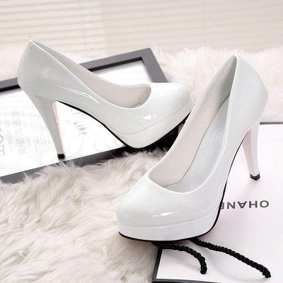 10CM高跟鞋防水臺性感細跟女單鞋圓頭套腳韓版女鞋漆皮大碼女鞋子