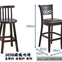 ❖時代歐❖ D038碳燒吧椅 - 311固定式實木高吧椅