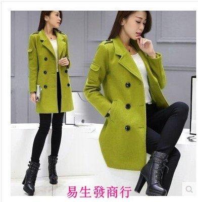 【易生發商行】高級呢子外套 秋冬羊毛呢外套女韓版雙排扣修身顯瘦中長F6330