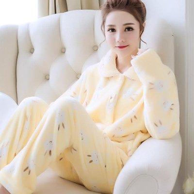 居家服秋冬季加厚款珊瑚絨睡衣女套裝加絨可愛法蘭絨長袖開衫大碼 Ic2931