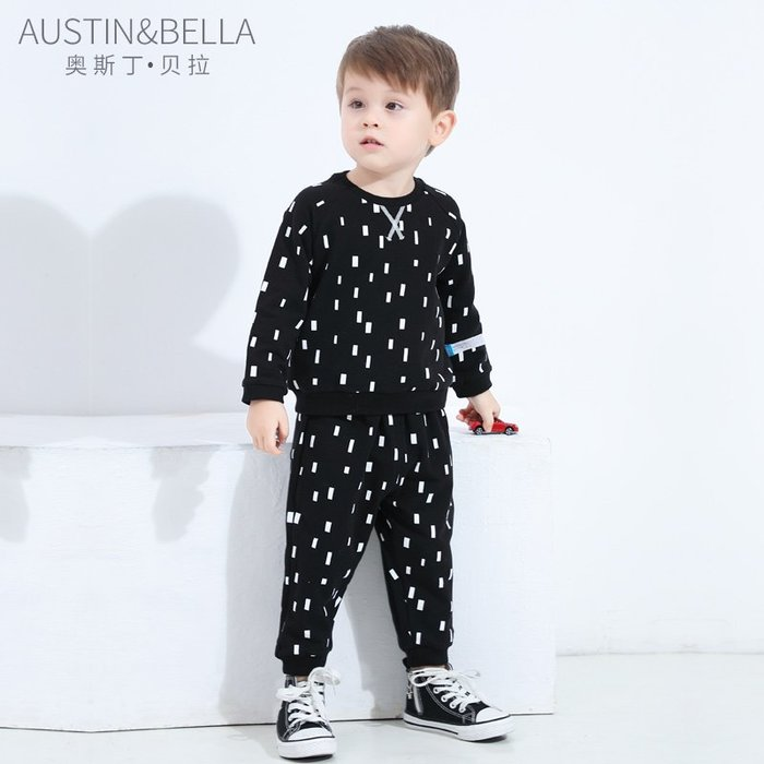 西西的賣場~AustinBella 男童秋裝套裝男寶寶帥氣小童洋氣時髦春秋衛衣二件套