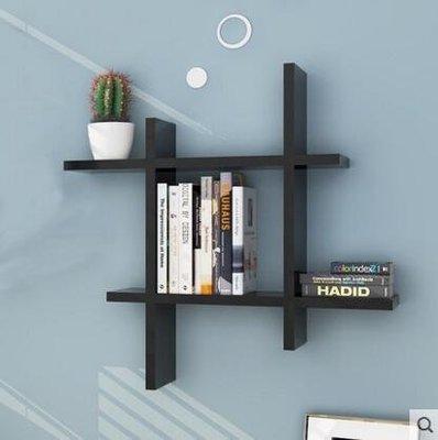 『格倫雅品』創意書架客廳擱架背景牆裝飾架子牆上置物架-黑色