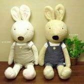 ☆愛莉詩☆日本帶回~***法國兔森林系棉麻吊帶服絨毛玩偶