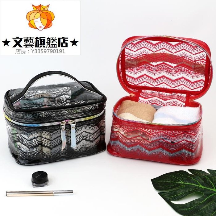 預售款-WYQJD-時尚鐳射透明軟塑料化妝包旅行大容量洗漱包多功能便攜收納袋紅色*優先推薦
