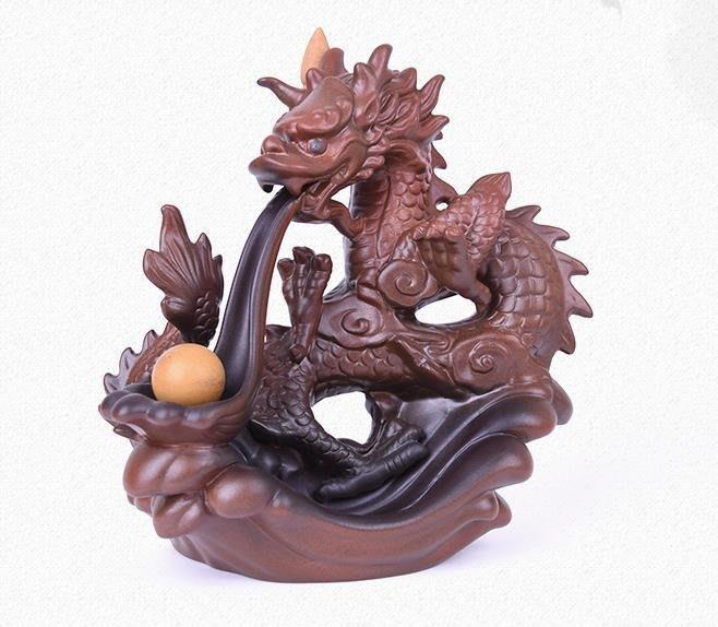 銷龍戲珠倒流香爐 創意陶瓷居室擺件倒流煙香熏爐