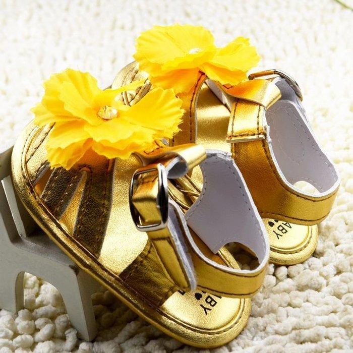 寶貝倉庫~金色大花公主涼鞋~學步鞋~寶寶鞋~嬰兒鞋~娃娃鞋~童鞋~彌月贈禮~粘扣設計~鞋底止滑