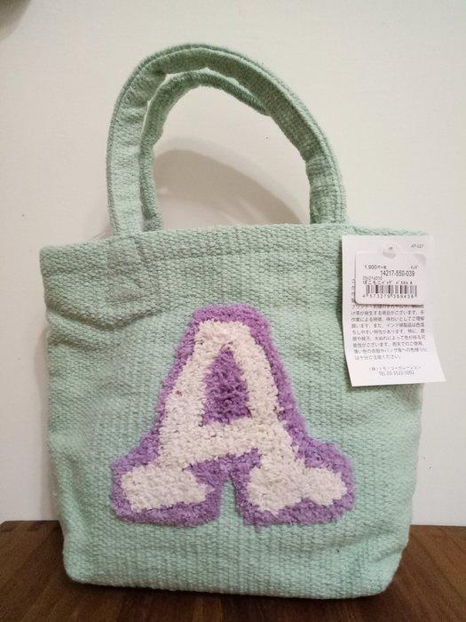 天使熊雜貨小舖~日本帶回字母針織帆布手提袋 現貨:A, K 2款  全新現貨