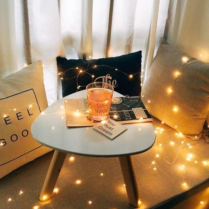 888利是鋪-ins網紅房間布置女LED星星裝飾電池燈小彩燈帶迷你紐扣銅線銅絲燈#收納#仿真植物#假花#裝飾#壁飾