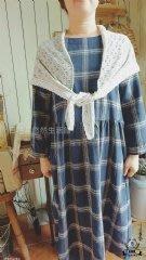 【花里-棉麻自然生活】正韓韓國直送自然系森林系棉麻亞麻田園風 韓國針織蕾絲披肩 灰色