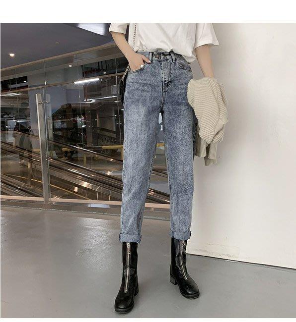 FINDSENSE 正韓女裝 夏季 淺色 淺藍 直筒牛仔褲 寬鬆 彈性 G6 顯瘦哈倫褲 女性 中高腰九分褲 女褲 長褲