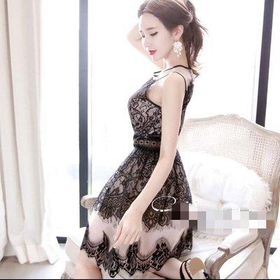 [ ohya梨花 ] =韓國帶回=2017新款名媛穿搭唯美蕾絲花邊拼接撞色網紗修身無袖連身裙小洋裝