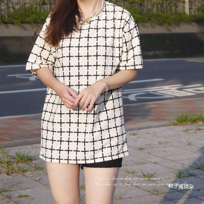 正韓 韓國空運 十字棋盤格紋上衣  大垂肩袖 ~惠衣。桔子瑪琪朵