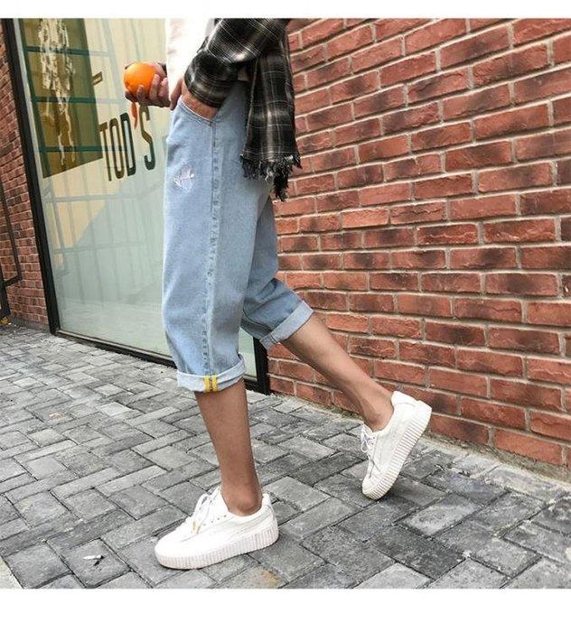 夏季薄款男士七分牛仔褲韓版潮流寬鬆直筒夏天7分短褲淺色褲子男