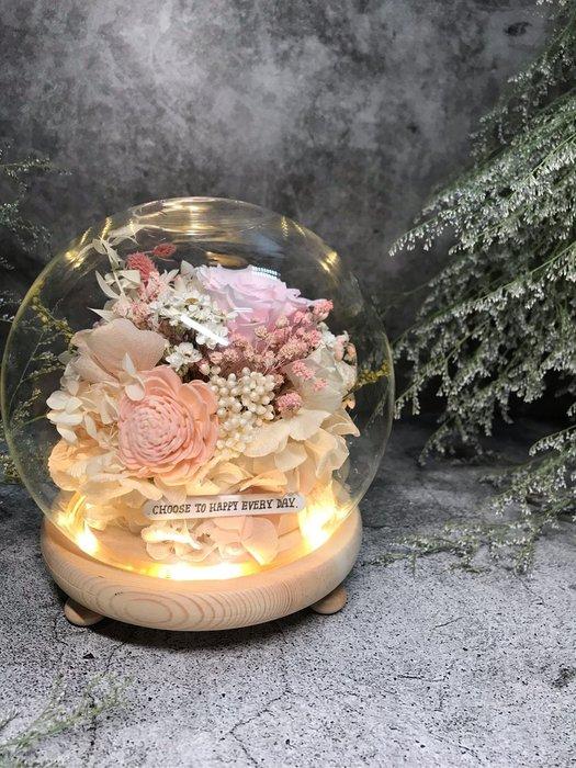 永生粉紅玫瑰玻璃圓形燈罩