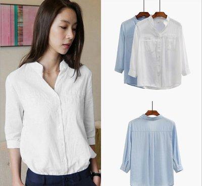 襯衫 (18YN0607-2) 實拍氣質V領七分袖棉麻襯衫 短袖上衣 T恤
