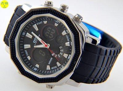 (六四三精品)超大錶徑4.4公分奧迪撕(真品)不銹鋼錶殼.雙顯多功能精準石英錶!黑框!