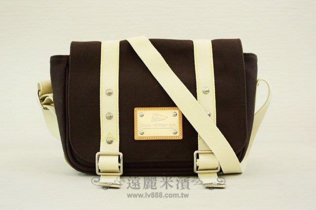 【遠麗】台北大安店~A4425 LV 咖啡帆船雙扣限量斜背包  真品/正品
