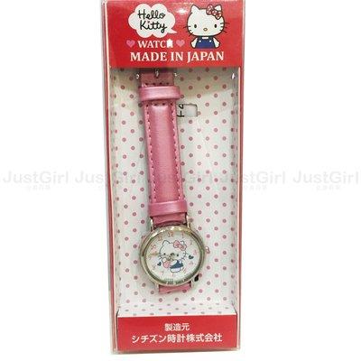HELLO KITTY 手錶 粉色蘋果 皮革 防水 配件 日本製 正版日本進口 JustGirl