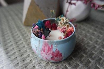 花漾系列~鼓形结婚喜糖盒 香氛蠟燭盒 馬口鐵盒 伴手禮盒 抖音糖果包装盒 密封罐*12個