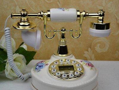 INPHIC-歐式復古田園電話 時尚創意電話機 家用電話座機 奢華陶瓷電話機