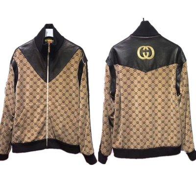 [4real]Gucci x Dapper Dan 合作款 棕色花紋拼皮夾克
