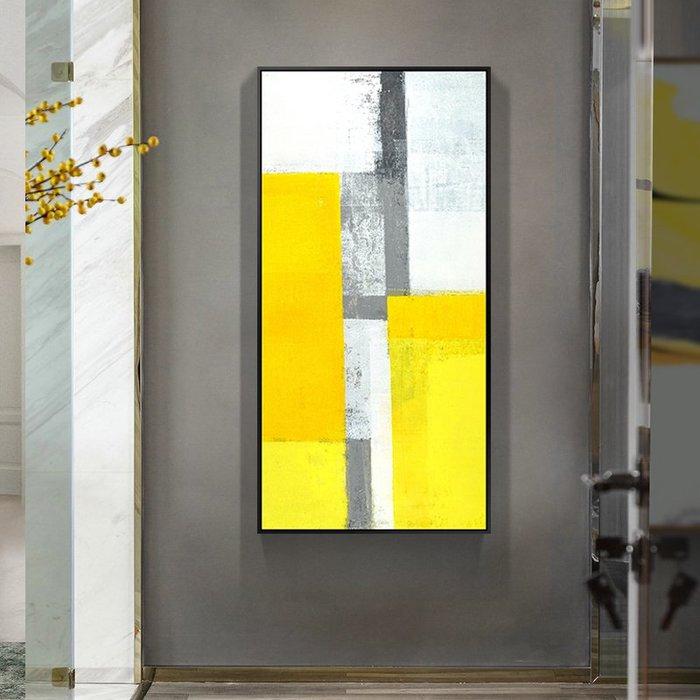 北歐簡約黃與灰創意藝術 十字繡 鉆石畫 豎版滿鉆玄關過道走廊畫 鑽石畫