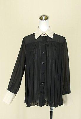 ◄貞新二手衣►50% FIFTY PERCENT 黑色V領長袖漸層雪紡紗洋裝長版F號(74672)