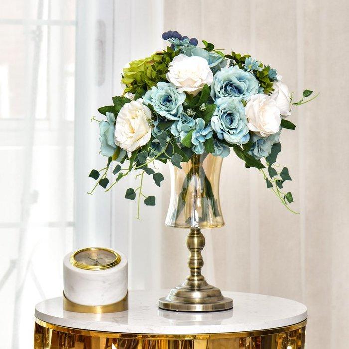 〖洋碼頭〗餐桌上的裝飾擺件玫瑰花瓶擺設歐式插幹花家用美式軟裝飾品 sme194