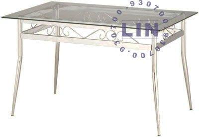 【品特優家具倉儲】357-04餐桌洽談桌富貴電鍍束管玻璃餐桌