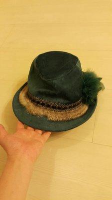 轉賣二手九成新墨綠色紳士帽宮廷華麗風質感佳.高雄市可自取250.男女都適用 高雄市