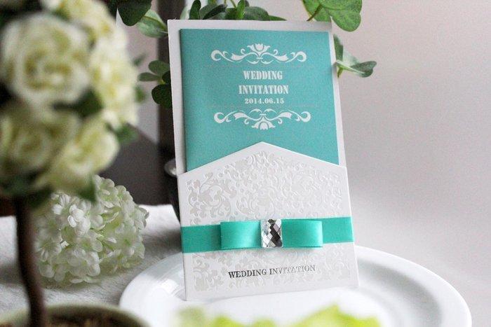 『潘朵菈精緻婚卡』影像設計喜帖 ♥ 璀璨緞帶18元喜帖系列 ♥ 喜帖編號:W-10072‧藍