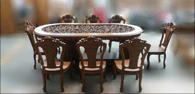 全新庫存家具賣場 *全新實木柚木歐式雕刻餐桌椅組 一桌8椅* 實木家具庫存出清 電視櫃 斗櫃 書櫃 高低櫃
