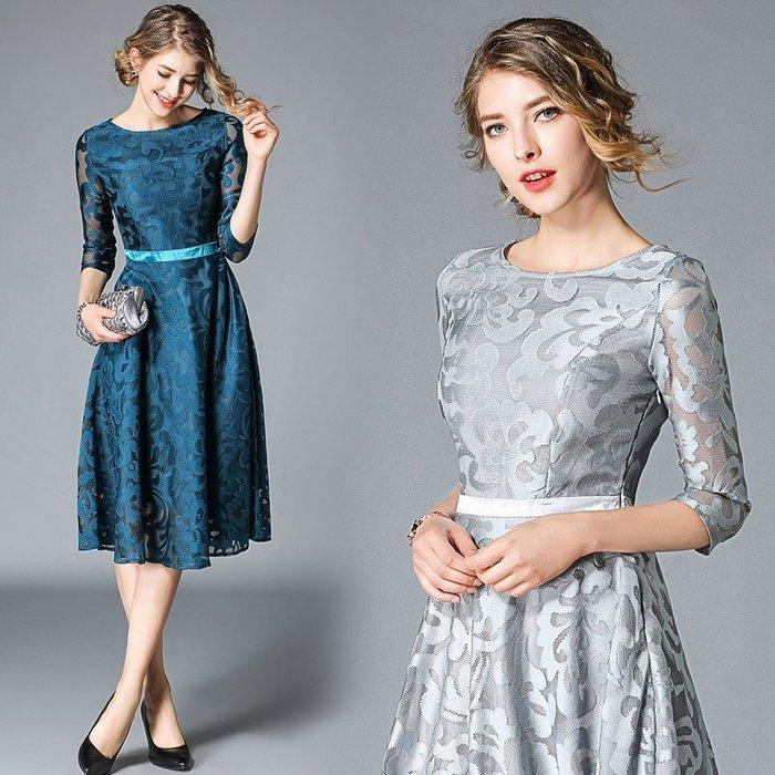 OL連身裙 洋裝 氣質 歐美風 性感 秋裝歐美大碼連衣裙女氣質顯瘦七分袖圓領蕾絲繡花大擺裙