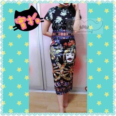 PapaDarling 實拍歐美奢華風圖案收腰顯瘦開叉連身裙