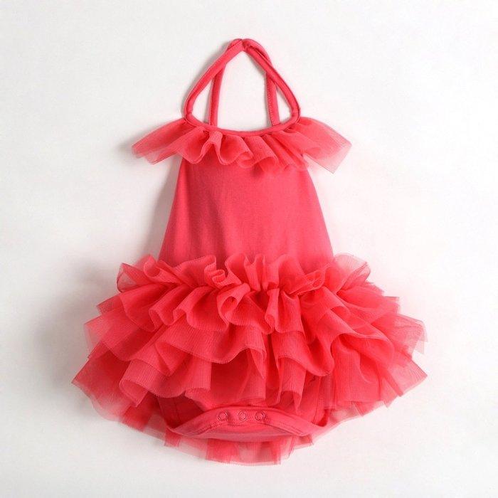 女童夢幻粉純棉露背網紗連身衣 彈性好 24M 偏大一碼 2-3歲適穿【C2】