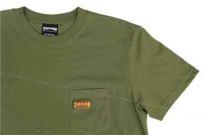 【 K.F.M 】THRASHER MICRO FLAME POCKET T-Shirt 日本限定 口袋短T 短袖 軍綠