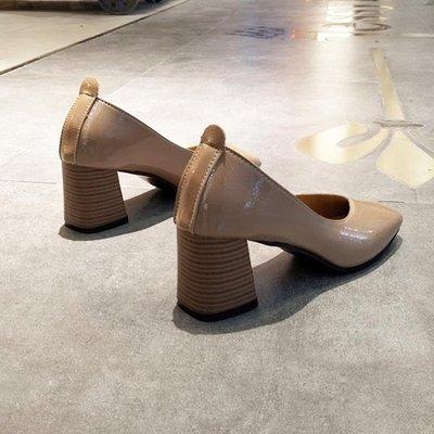 粗跟鞋 方頭單鞋女淺口中跟高跟鞋軟底舒適奶奶鞋上班工作鞋黑色