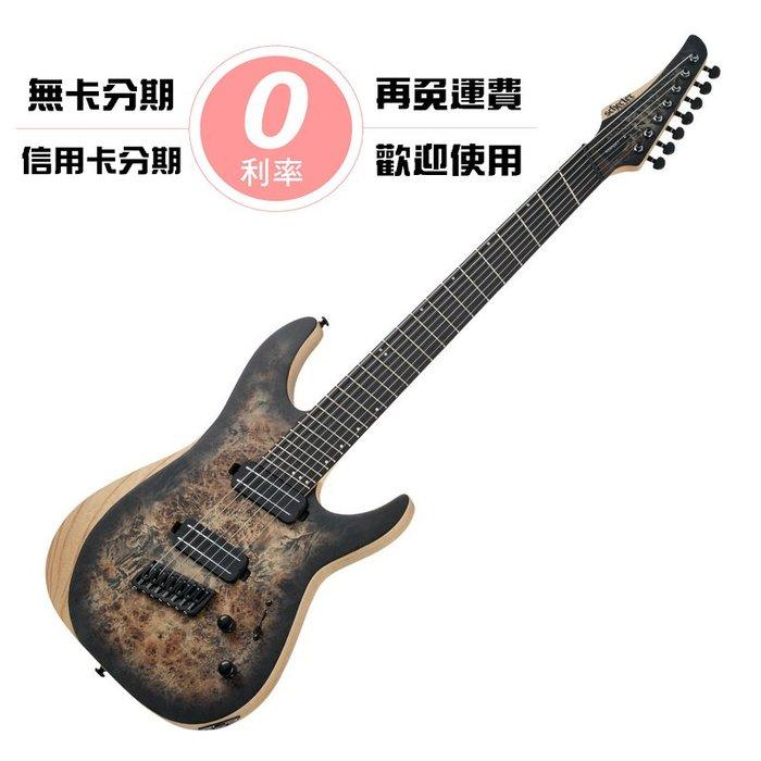 ☆唐尼樂器︵☆分期免運 Schecter Reaper-7 MS 漸層炭色 原木樹瘤 扇形指板 無搖座 七弦 電吉他
